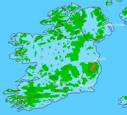 Map of flooded Ireland